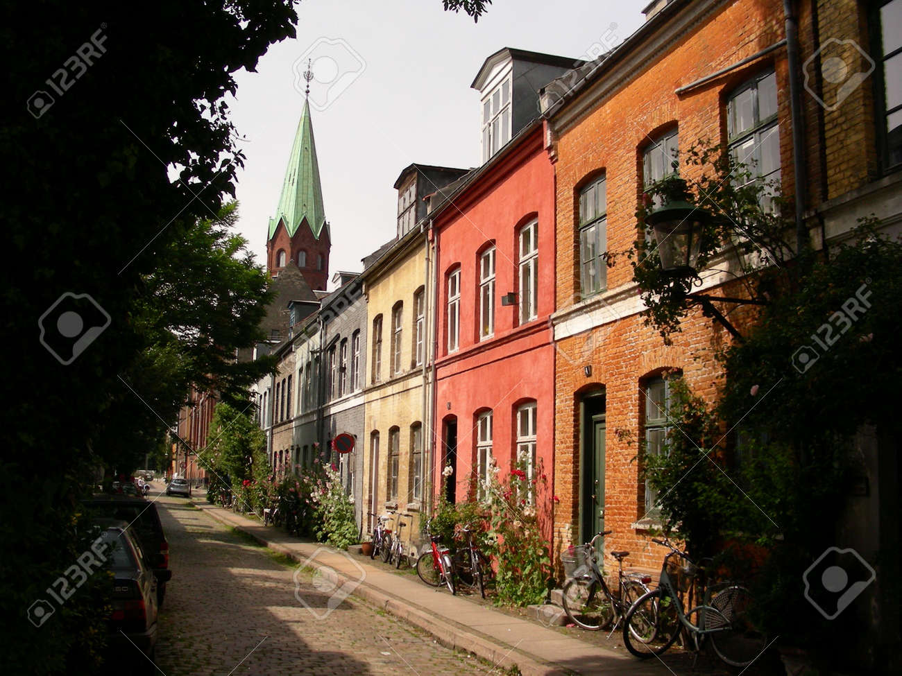 A Small Street With Lots Of Old Classic Houses In Copenhagen Stock