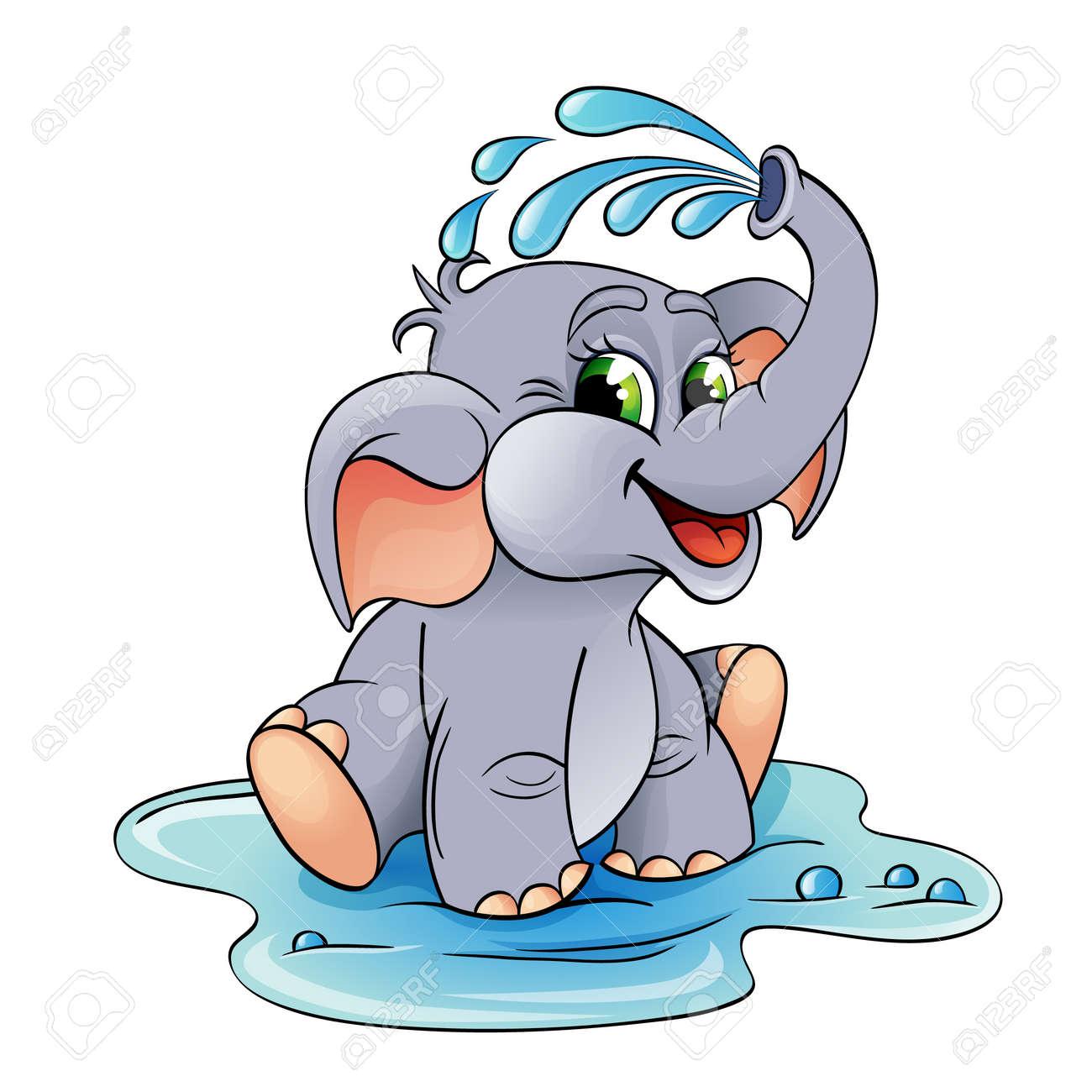 Divertidos Dibujos Animados Bebé Elefante Que él Vierte Con Agua ...