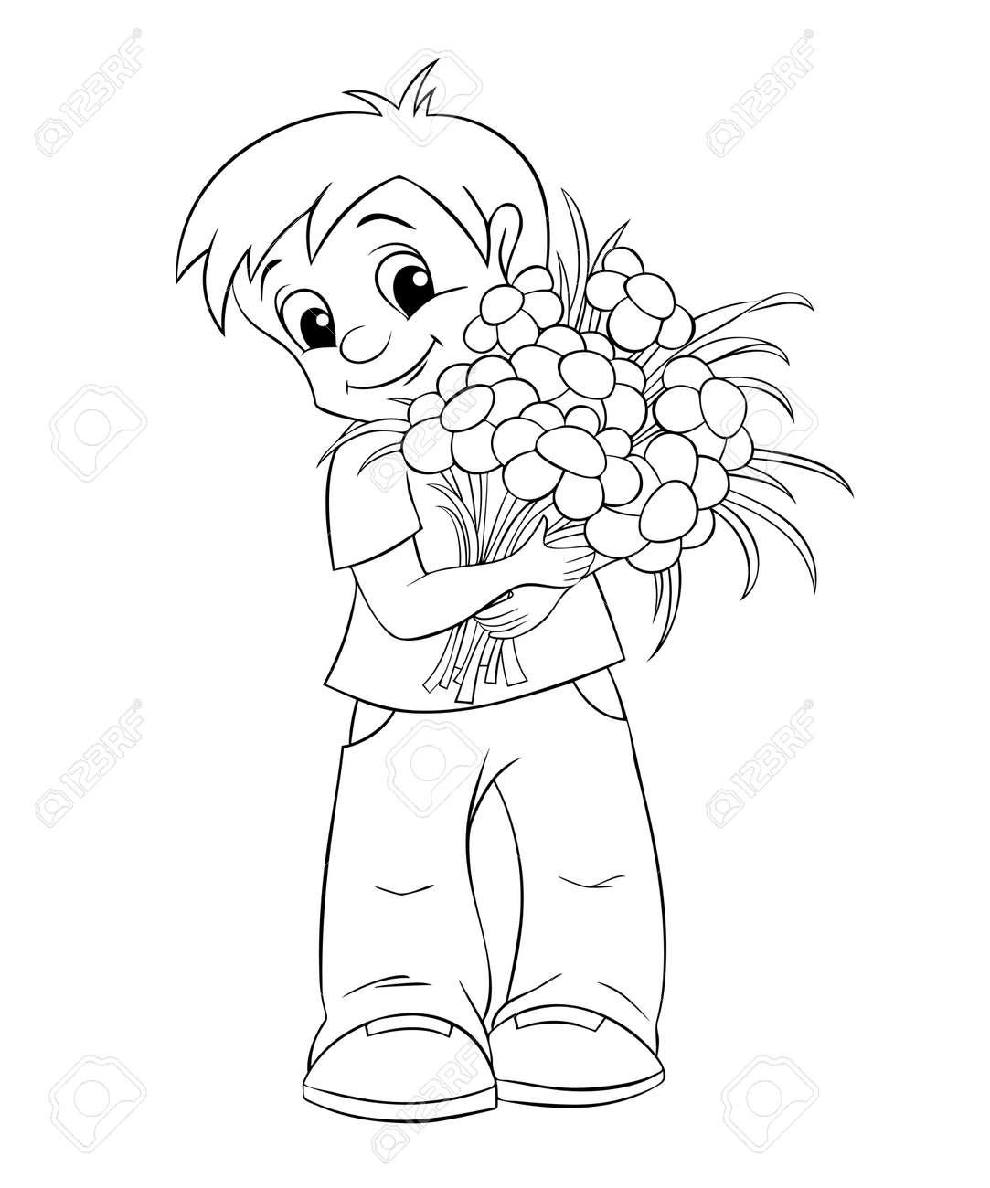 花束とかわいい男の子塗り絵の黒と白のイラストのイラスト素材ベクタ