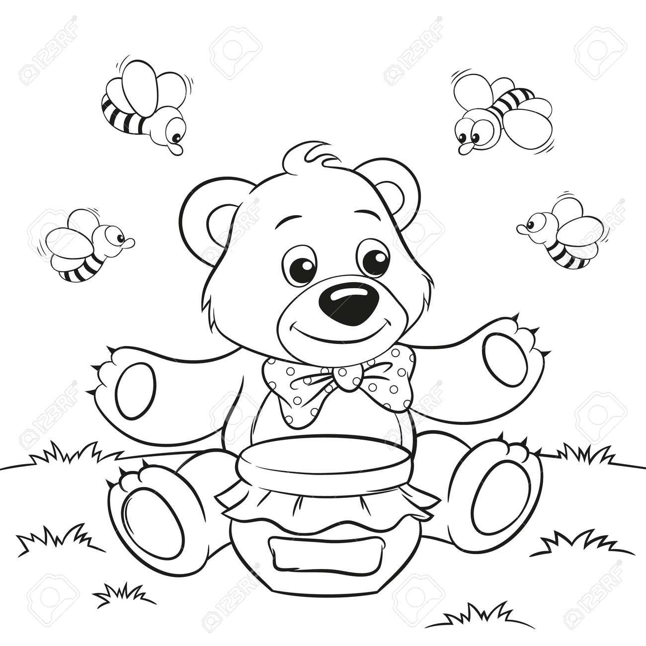 塗り絵のためのハチと蜂蜜のクマをかわいい漫画のベクトル イラストの