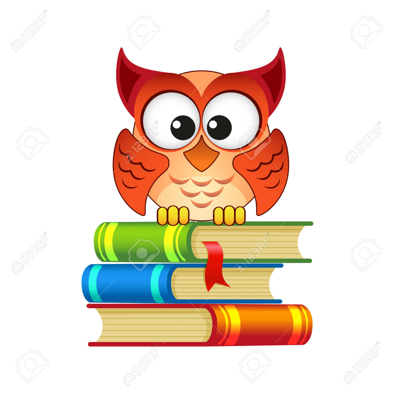 owl sitting on a pile of books royalty free cliparts vectors and rh 123rf com Book Outline Clip Art Math Book Clip Art