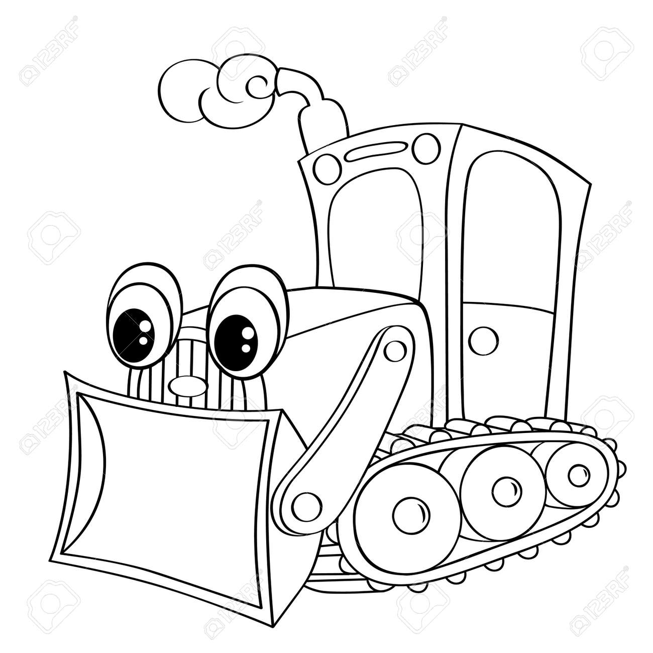 Funny Cartoon Bulldozer Black And White Vector Illustration For Coloring Book Stock