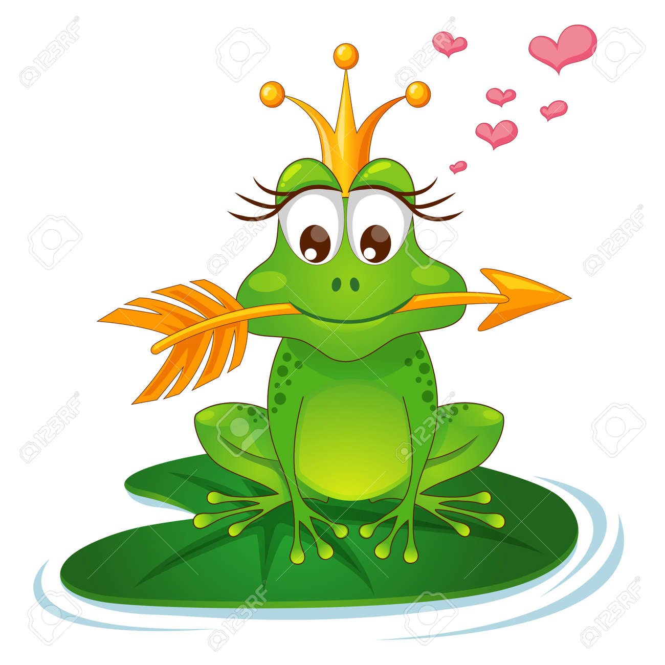 princess frog with a golden arrow royalty free cliparts vectors rh 123rf com Cute Frog Silhouette Vector The Crocodile