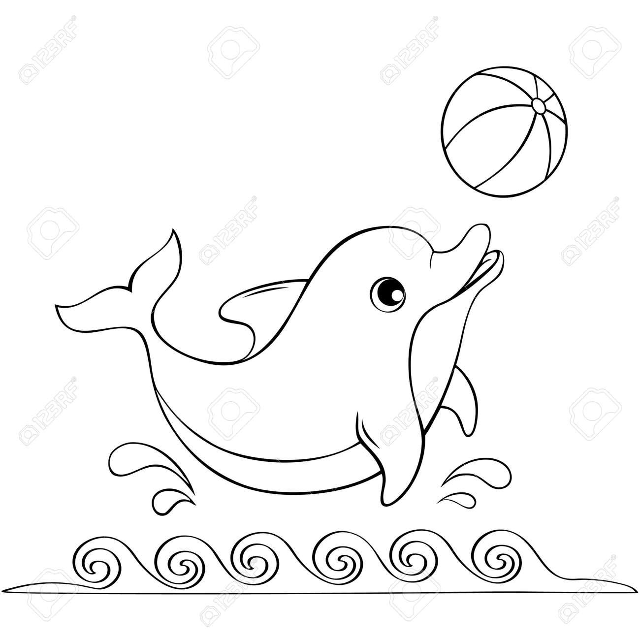 かわいいイルカがボールで遊ぶ塗り絵の黒と白のイラストのイラスト素材