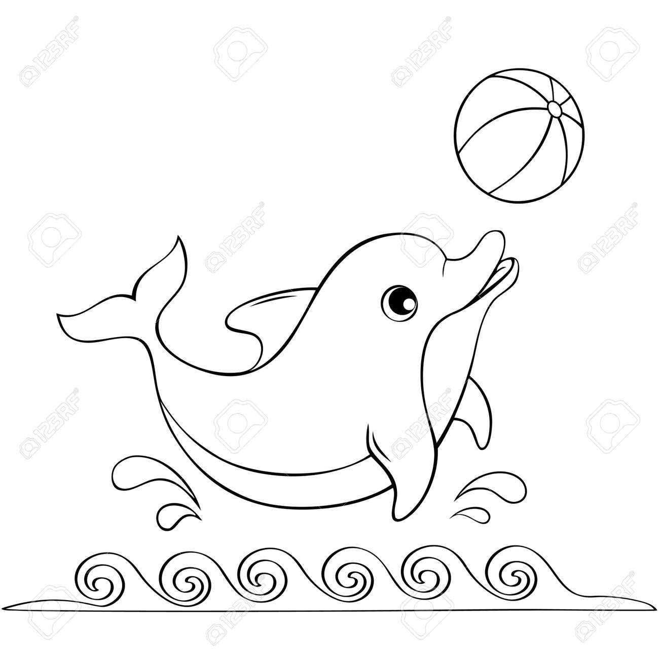 cute dolphin playing with a ball black and white illustration
