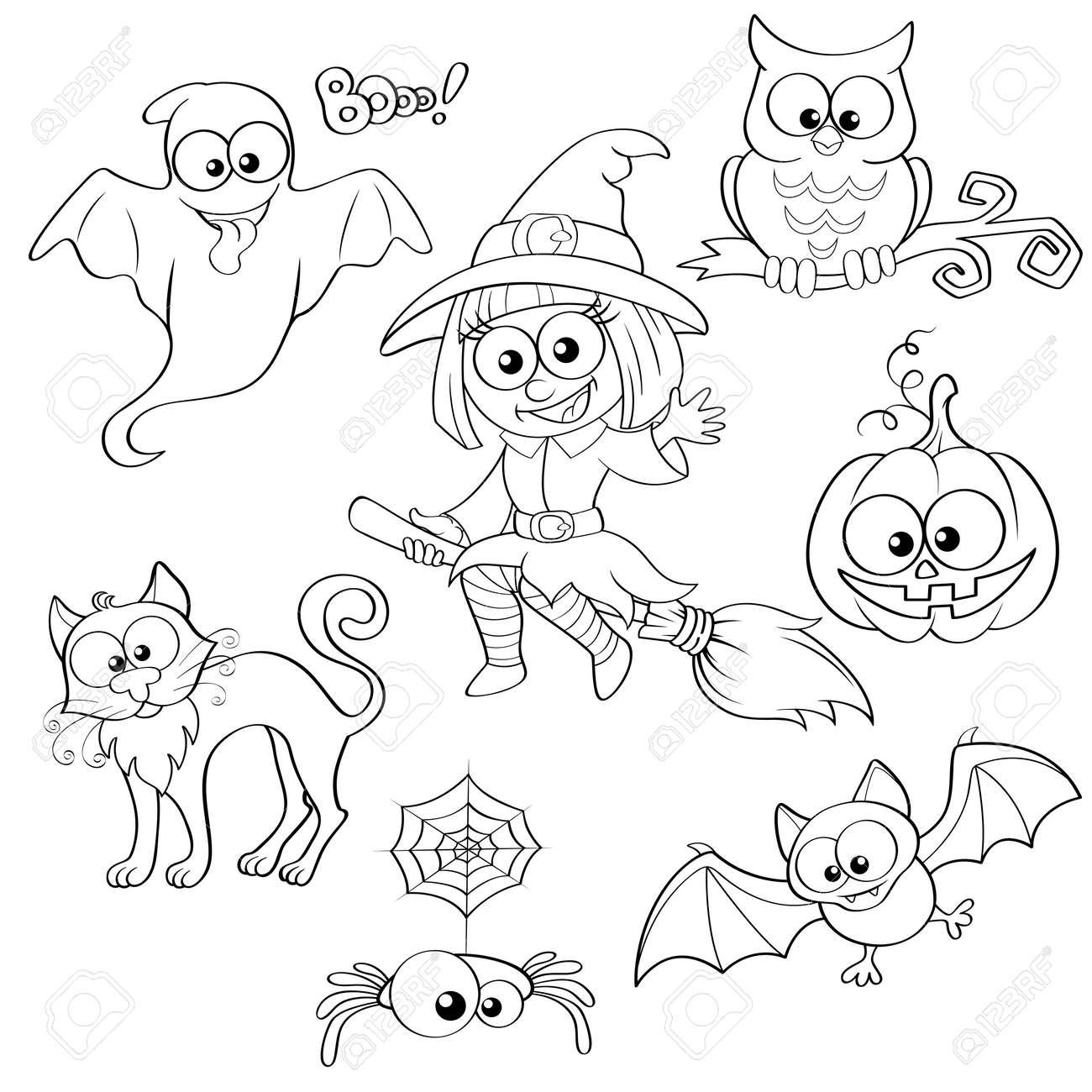 Conjunto De Elementos De Halloween. Ilustración Vectorial Blanco Y ...