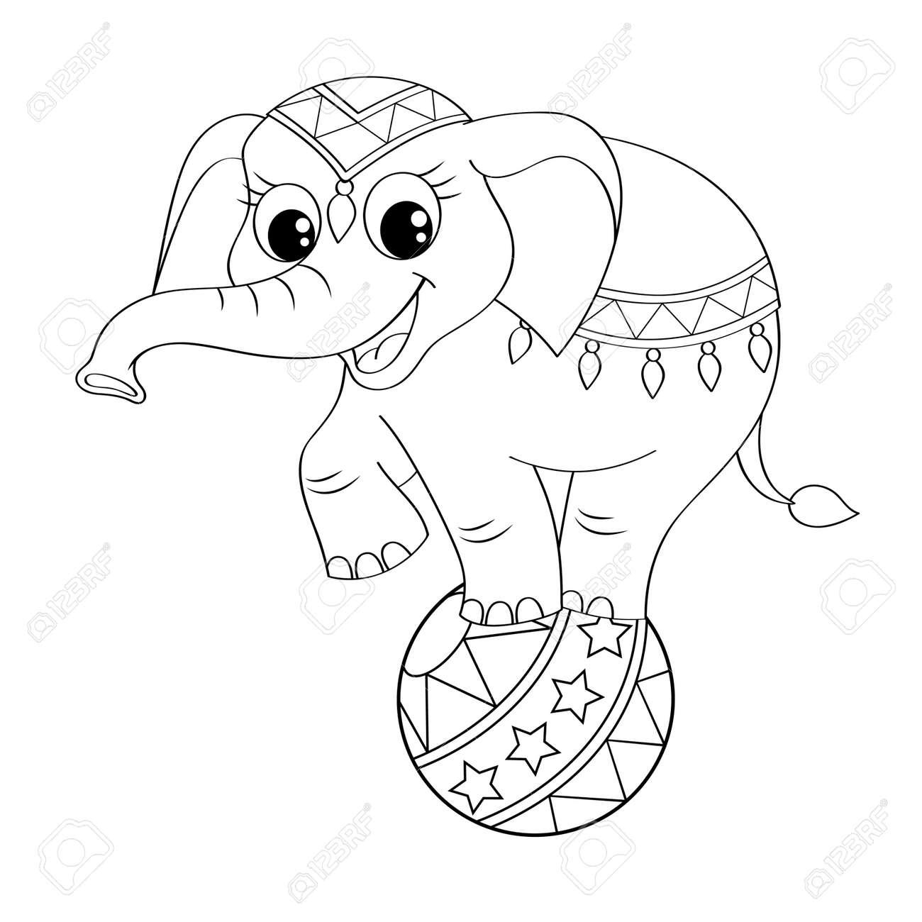 Equilibrio Divertido Elefante De Circo De Dibujos Animados En La ...