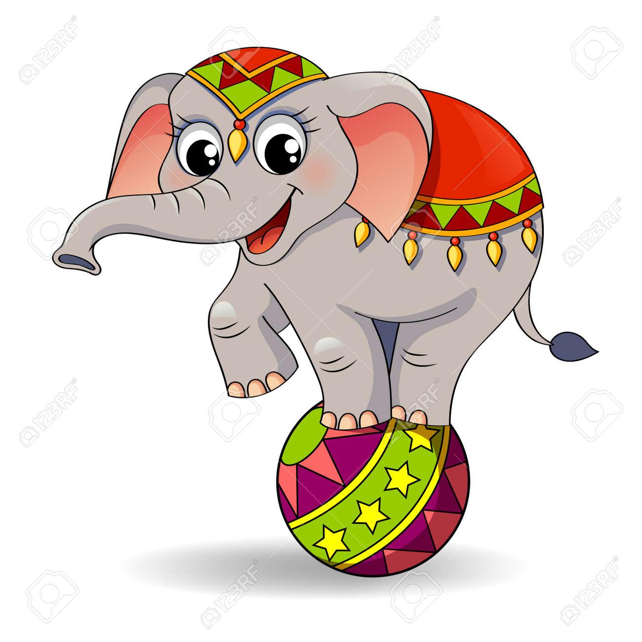 funny cartoon circus elephant balancing on ball royalty free rh 123rf com circus elephant clipart black and white circus elephants clipart