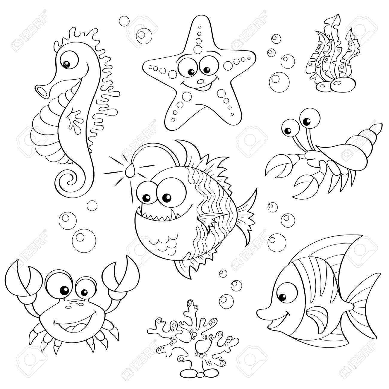 かわいい漫画の海の動物のセットです塗り絵の黒と白のイラストの