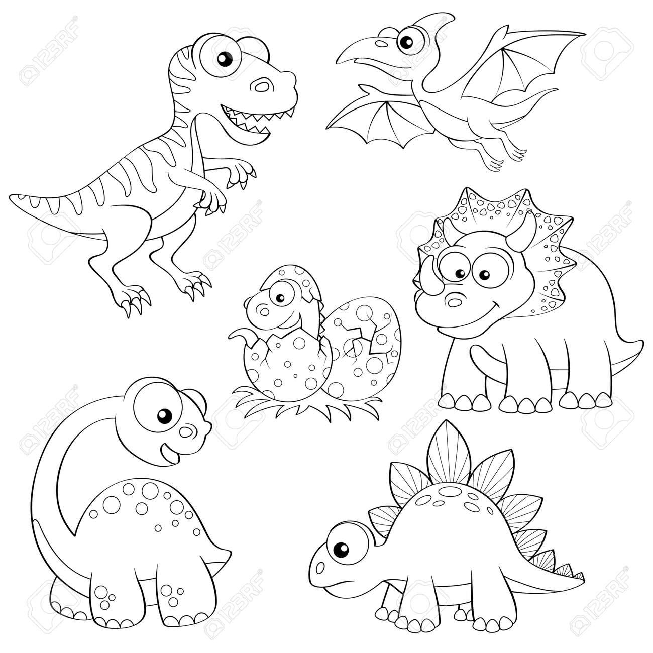 Conjunto De Dinosaurios De Dibujos Animados. Ilustración En Blanco