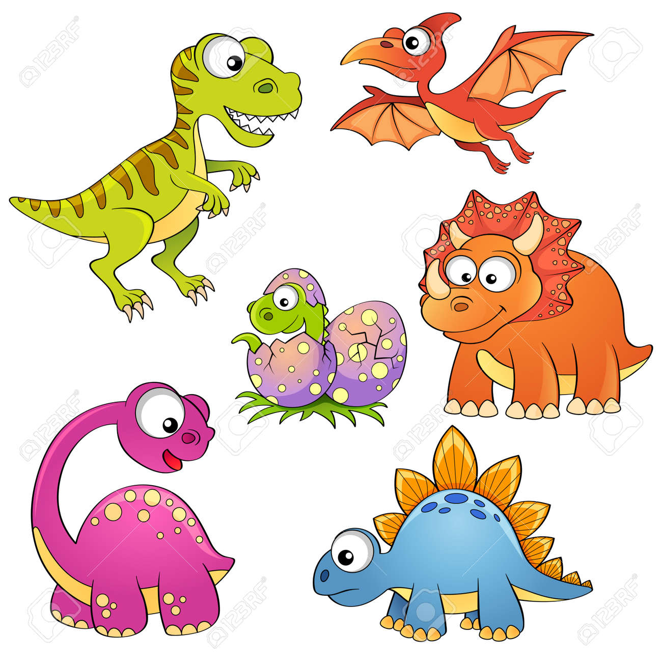 Set Of Cartoon Dinosaurs Royalty Free Cliparts Vectors And Stock Illustration Image 48129423