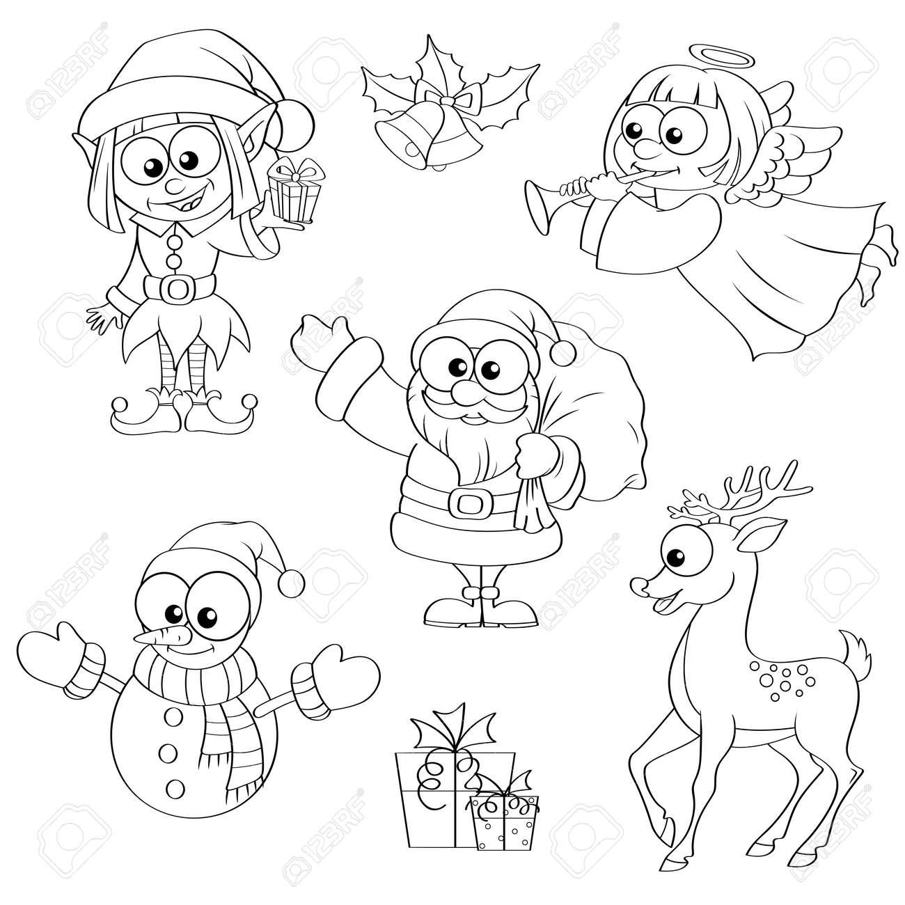 Navidad Y Año Nuevos Personajes. Santa Claus, Muñeco De Nieve ...