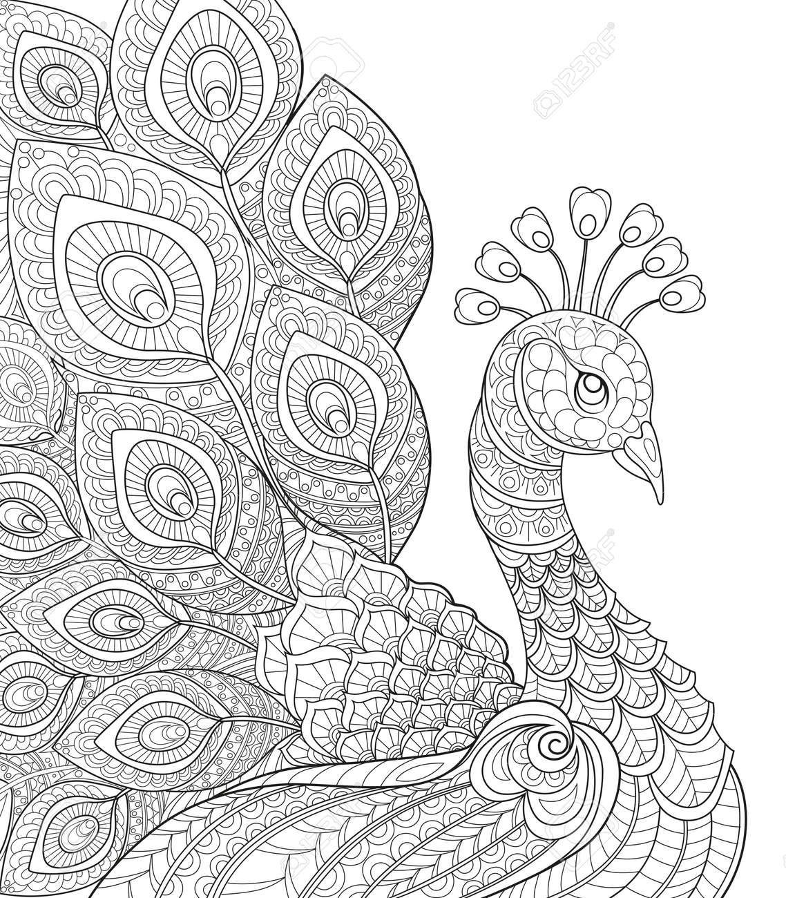Adult antistress coloring page black and white hand drawn doodle for coloring book