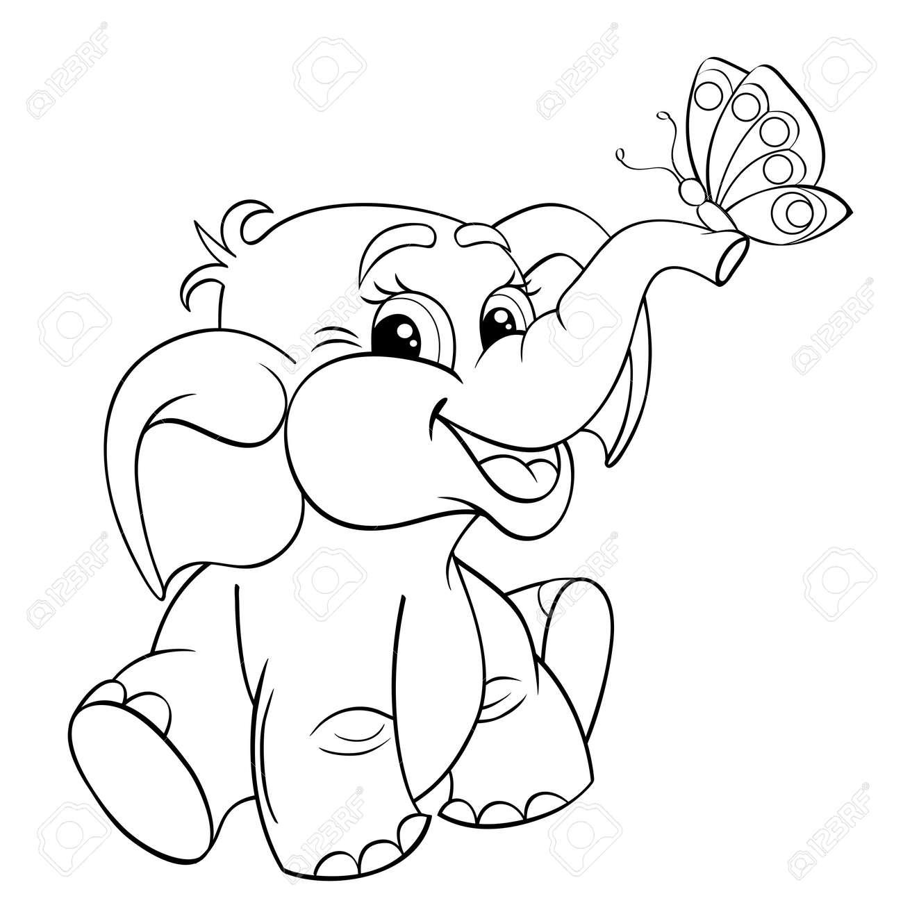 Bebé Elefante De Dibujos Animados Divertido Con La Mariposa Ejemplo