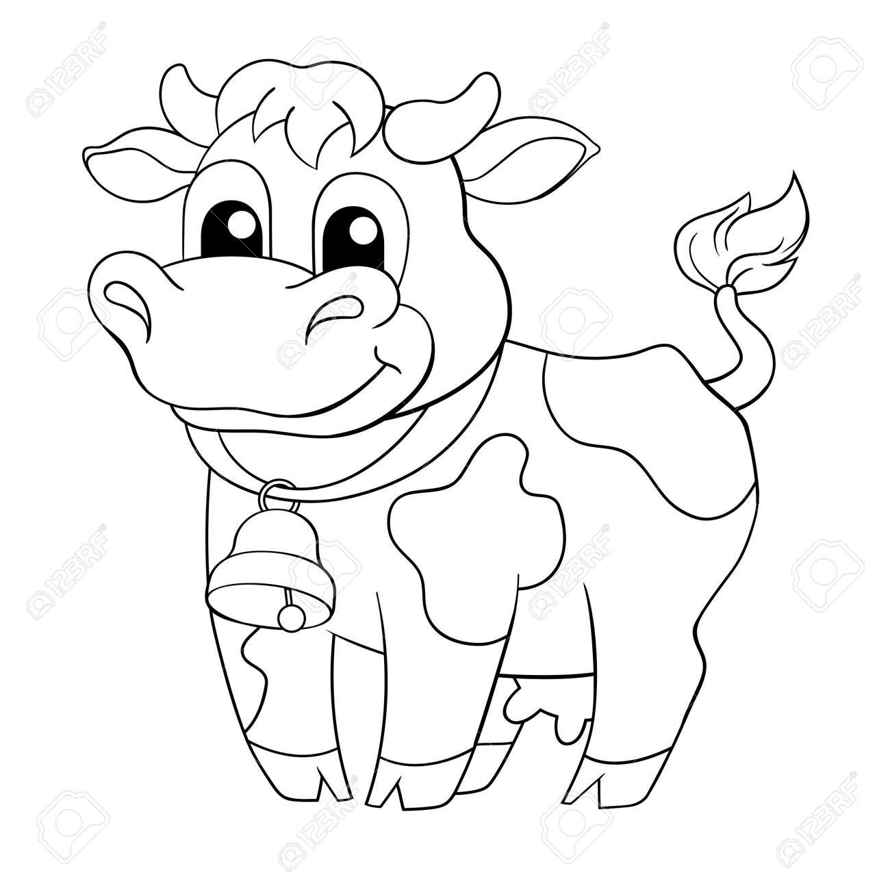 Coloriage Bebe Vache.Vache Drole De Bande Dessinee Illustration En Noir Et Blanc Pour Le Livre De Coloriage