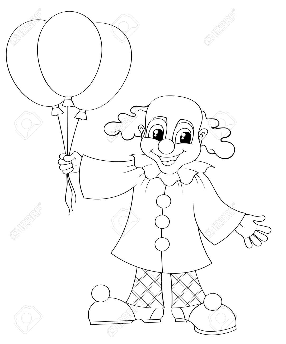 Clown Drôle Avec Des Ballons Illustration En Noir Et Blanc Pour Le Livre à Colorier