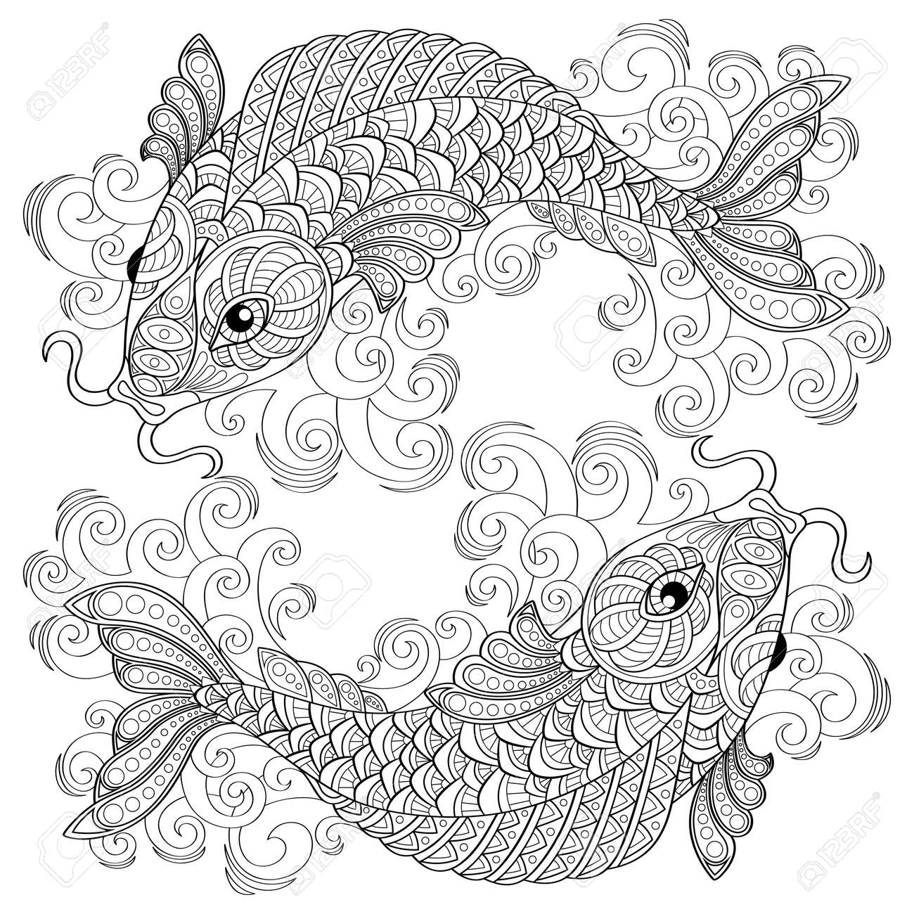 3103 koi fish stock vector illustration and royalty free koi fish chinese carps pisces adult antistress coloring page black and white biocorpaavc Images