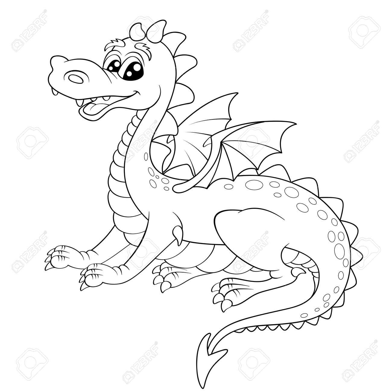 dragon mignon de bande dessinée Illustration pour le livre de coloriage Banque d images