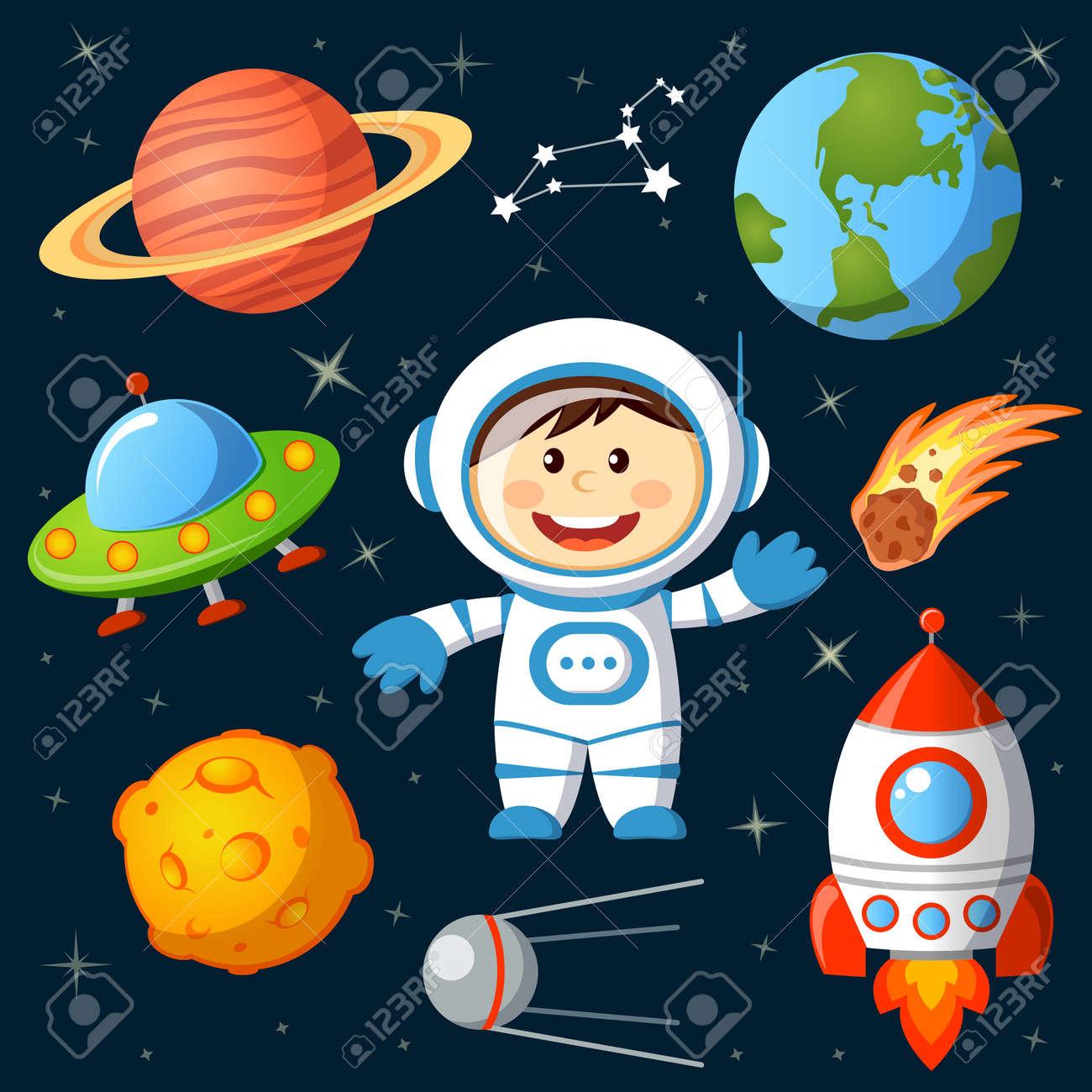 Set of space elements. Astronaut, Earth, saturn, moon, UFO, rocket, comet, constellation, sputnik and stars - 52817933