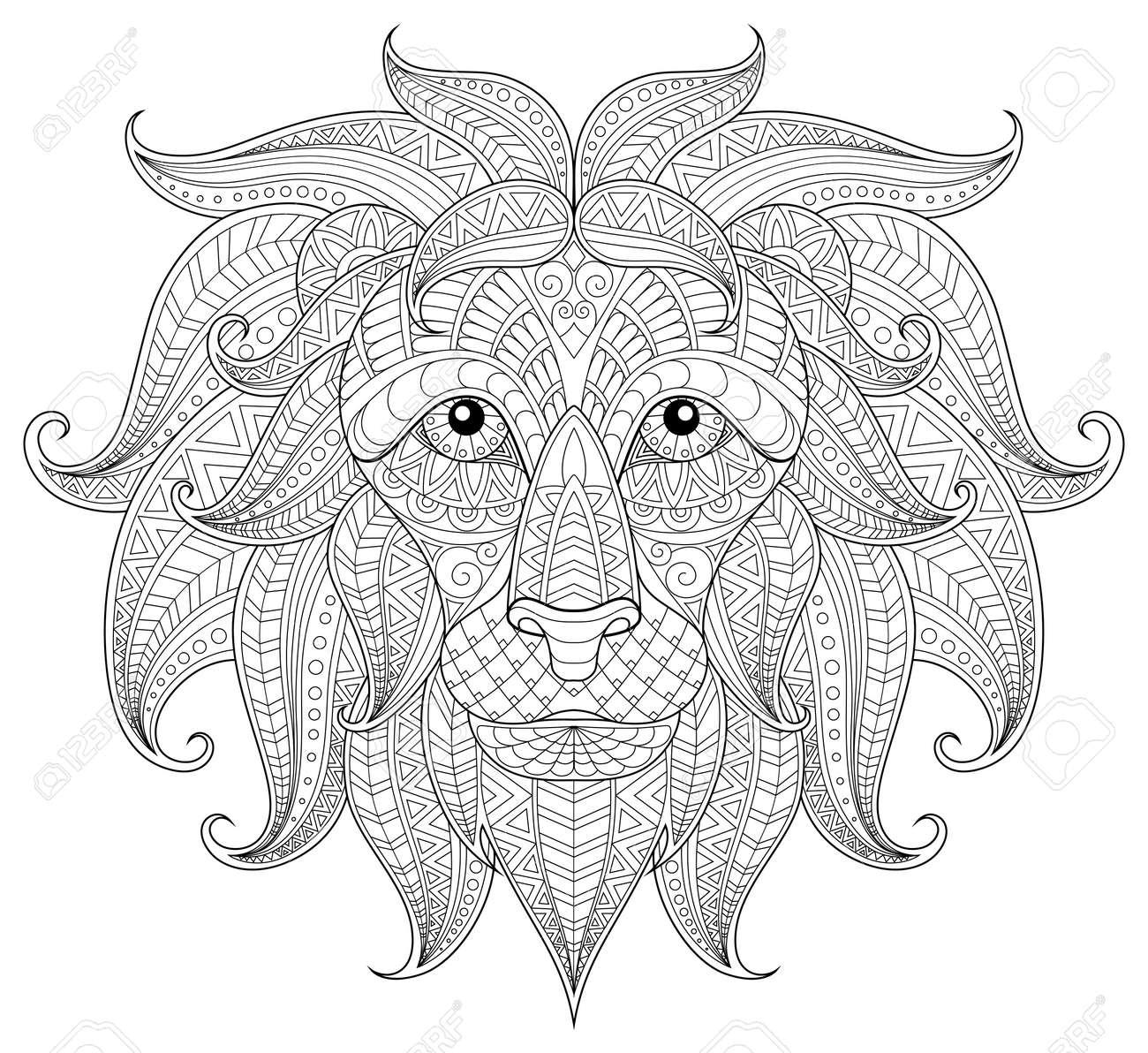 Tête De Lion Adulte Coloriages Antistress Doodle Noir Et Blanc Pour Le Livre De Coloriage