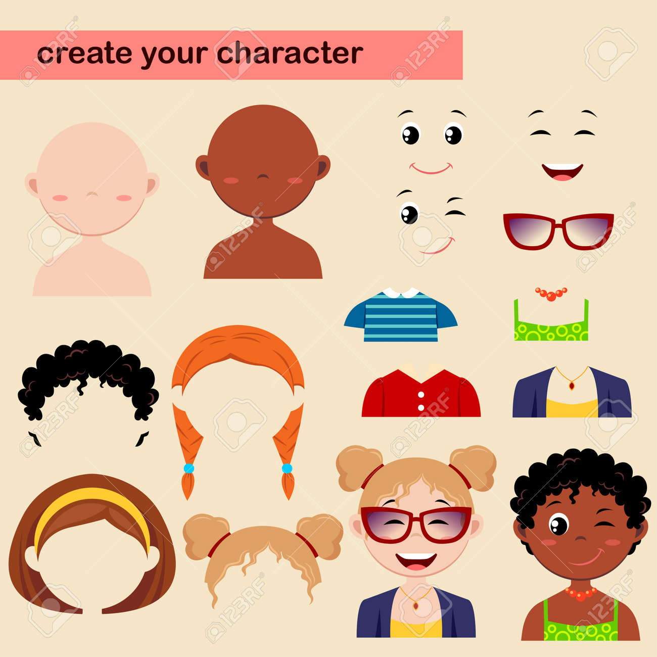 Constructor of girl characters  Create your avatar