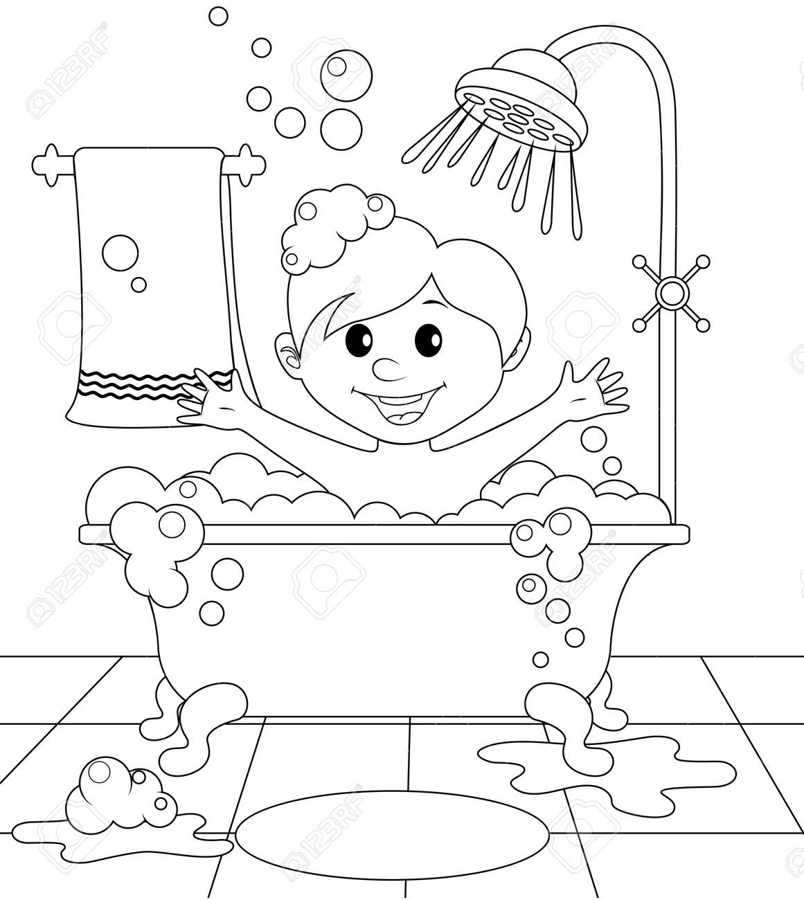 Boy In The Bathroom Black And White Illustration For Coloring Book Stock Vector