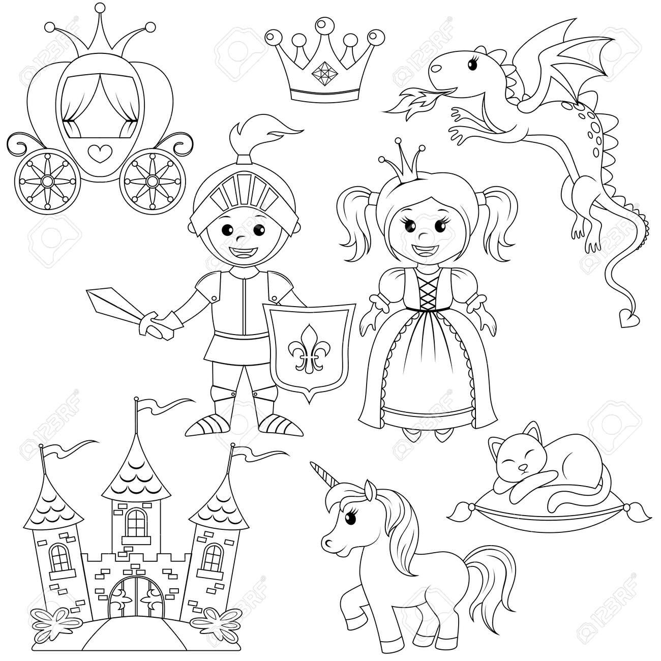Fairytale Prenses Knight Kale Araba Tek Boynuzlu At Taç