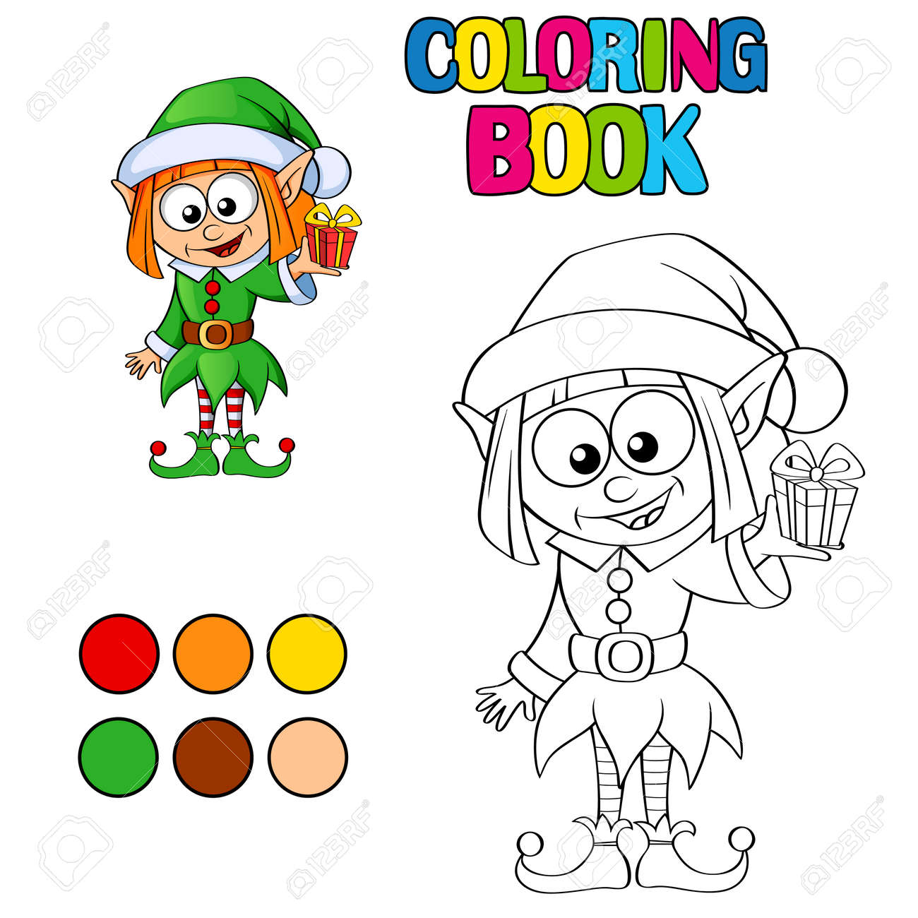 Coloring Book With Christmas Elf Royalty Free Cliparts, Vectors, And ...