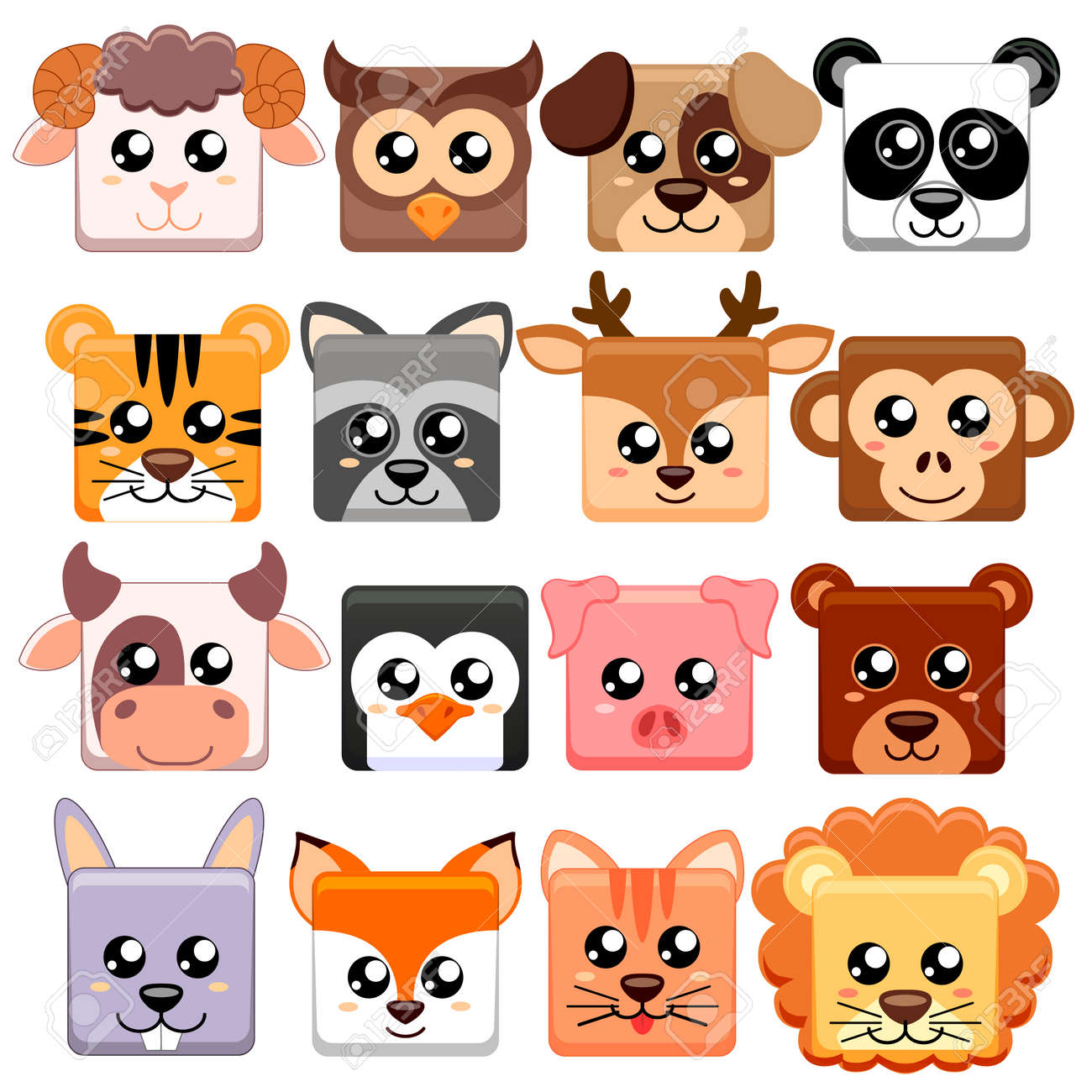 Cute cartoon animals head square shape  Bear, cat, dog, pig,