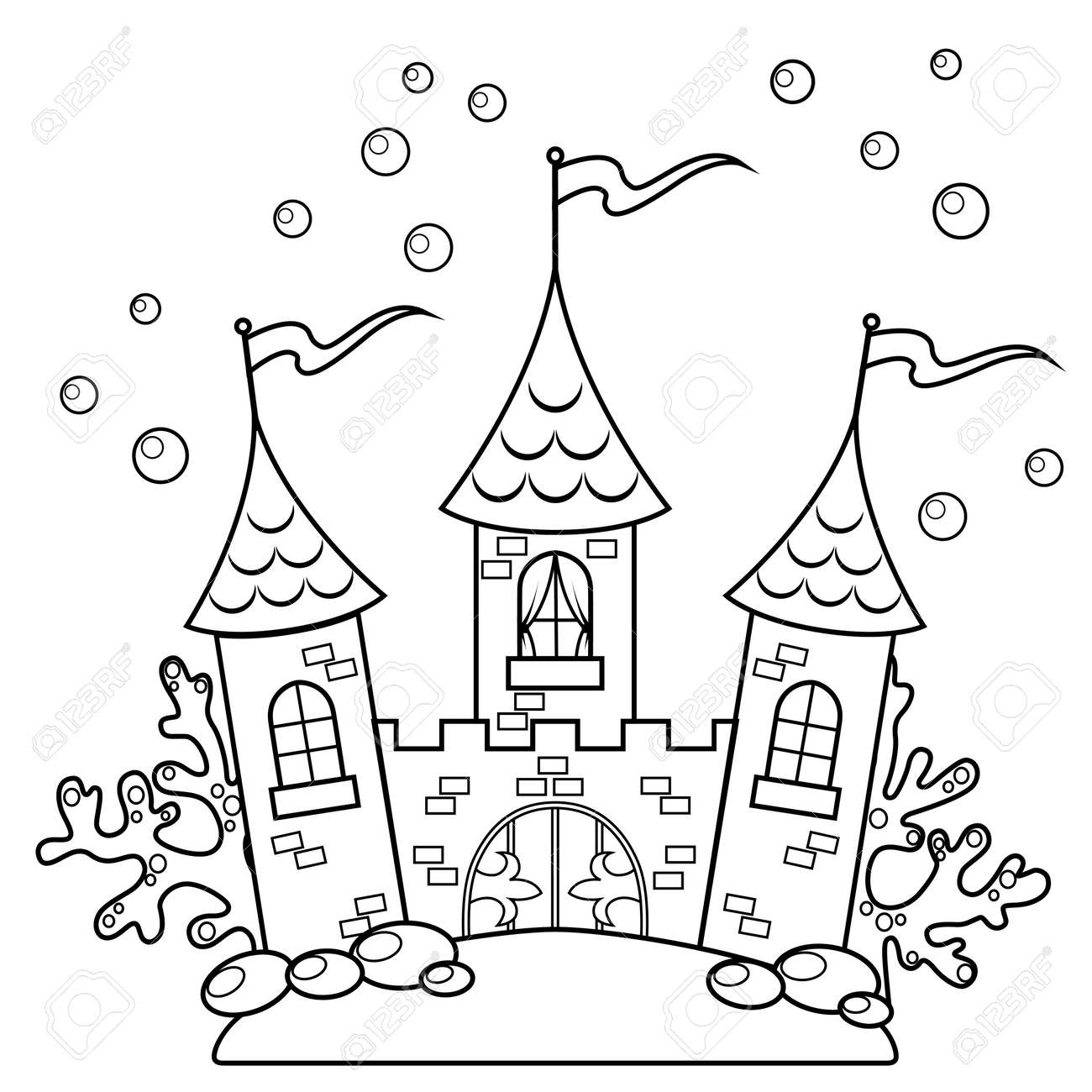 Underwater Castle. Black And White Vector Illustration For Coloring ...
