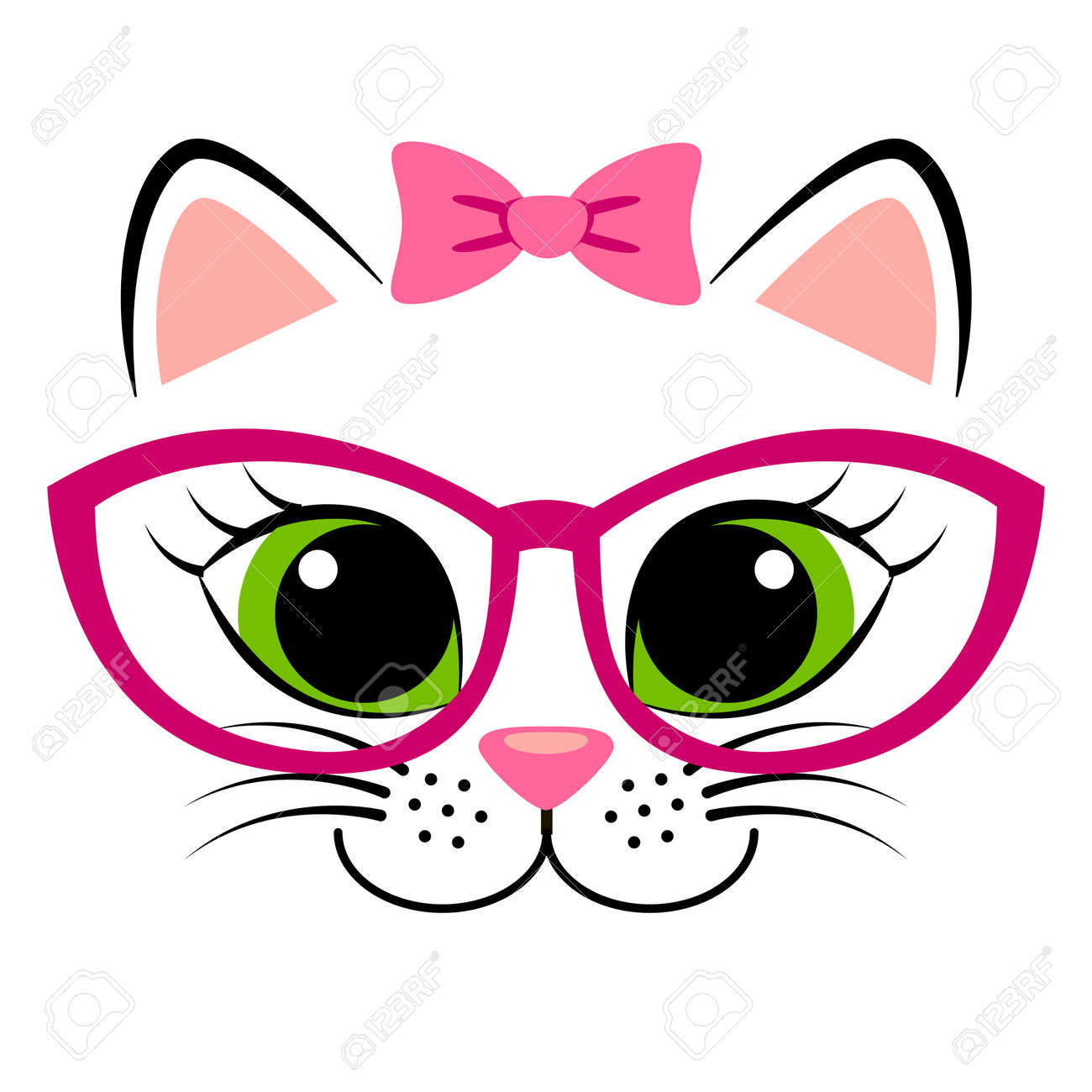 Cute white kitten with pink bow and glasses. Girlish print with kitty for t-shirt - 70953019