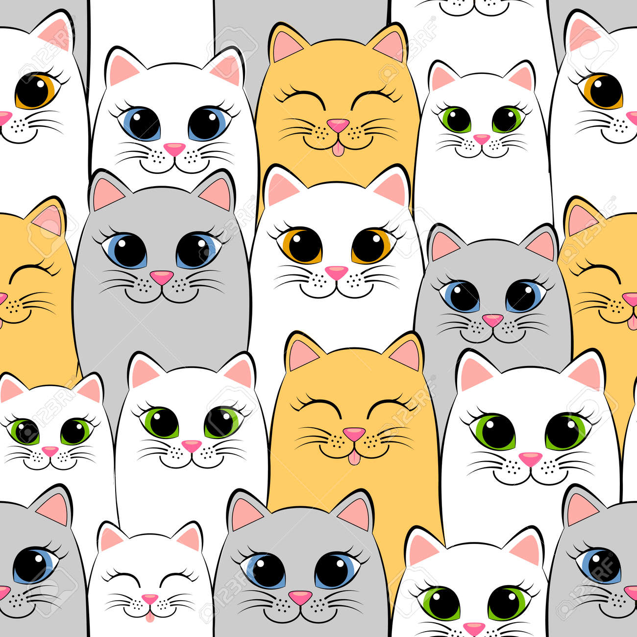 Seamless pattern with cats. Background with gray, white and ginger..