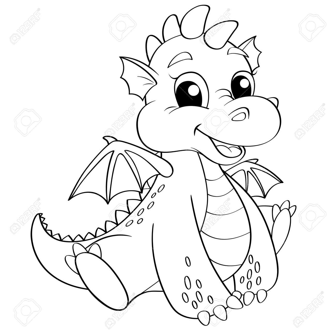 Lujo Colorear Dragon Volador Bosquejo - Enmarcado Para Colorear ...