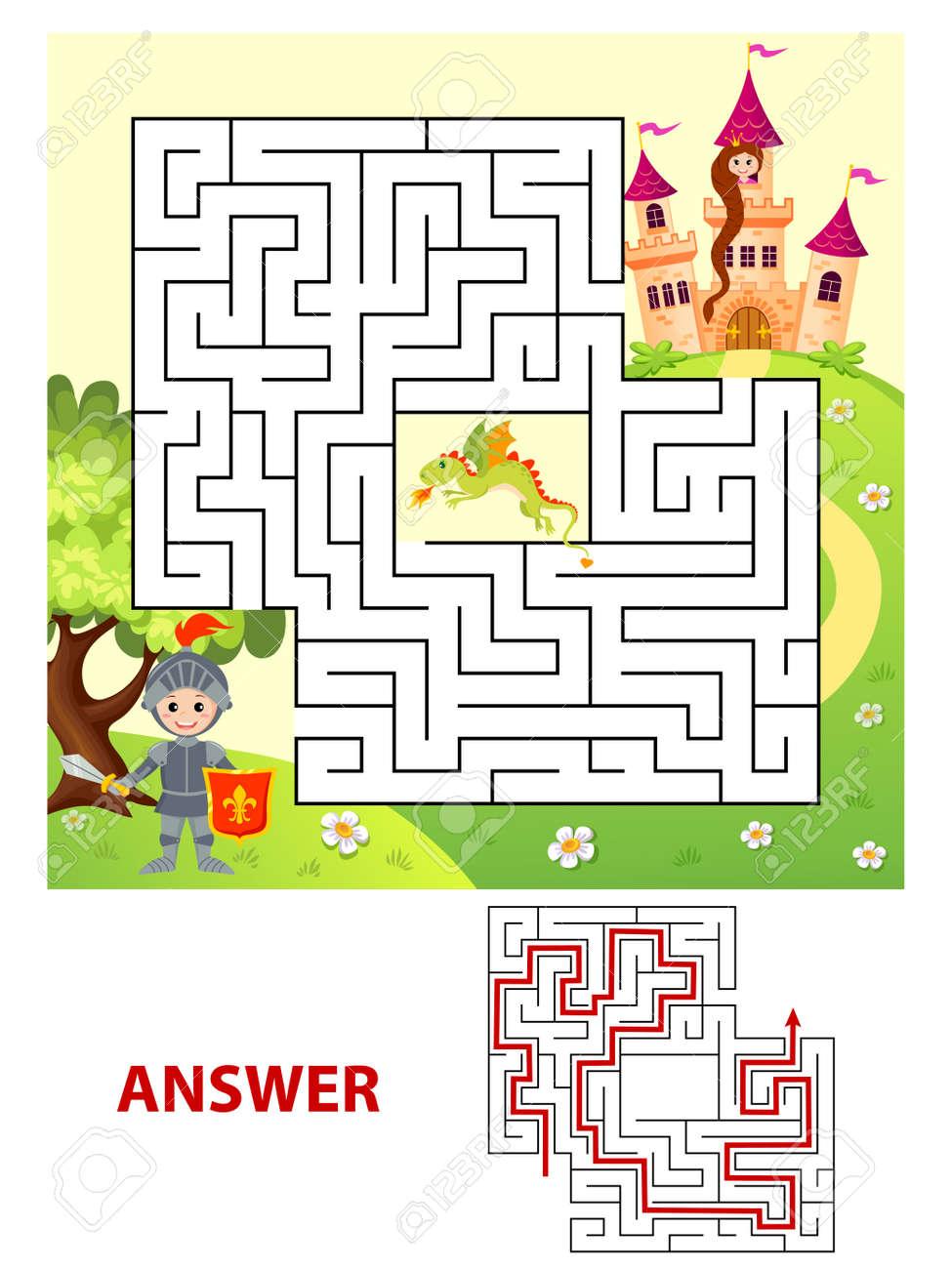 Hilfe Ritter Weg Zur Prinzessin Finden. Labyrinth. Maze Spiel Für ...