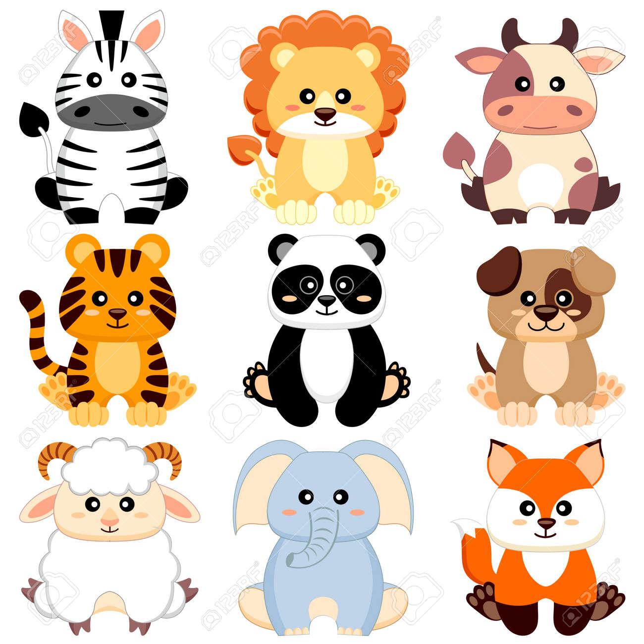Cute cartoon baby animals  Dog, cow, lion, sheep, tiger, panda,
