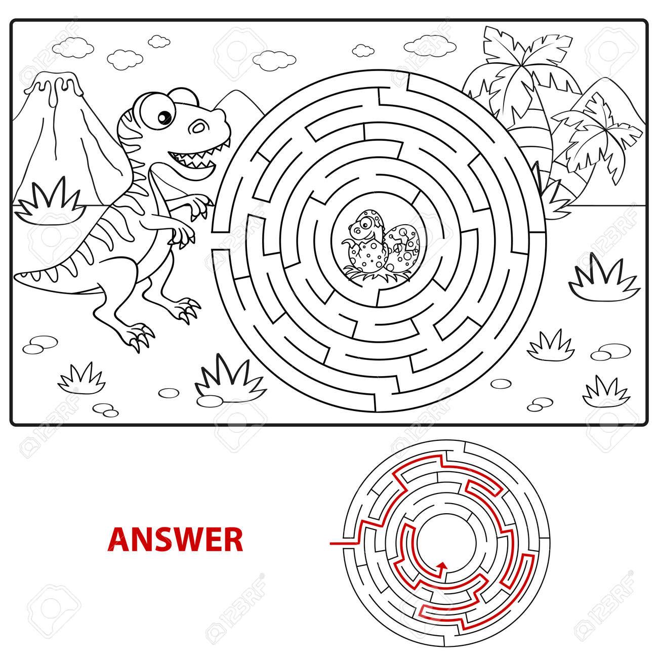 Hilfe Dinosaurier Finden Weg Zum Nest. Labyrinth. Labyrinth Spiel