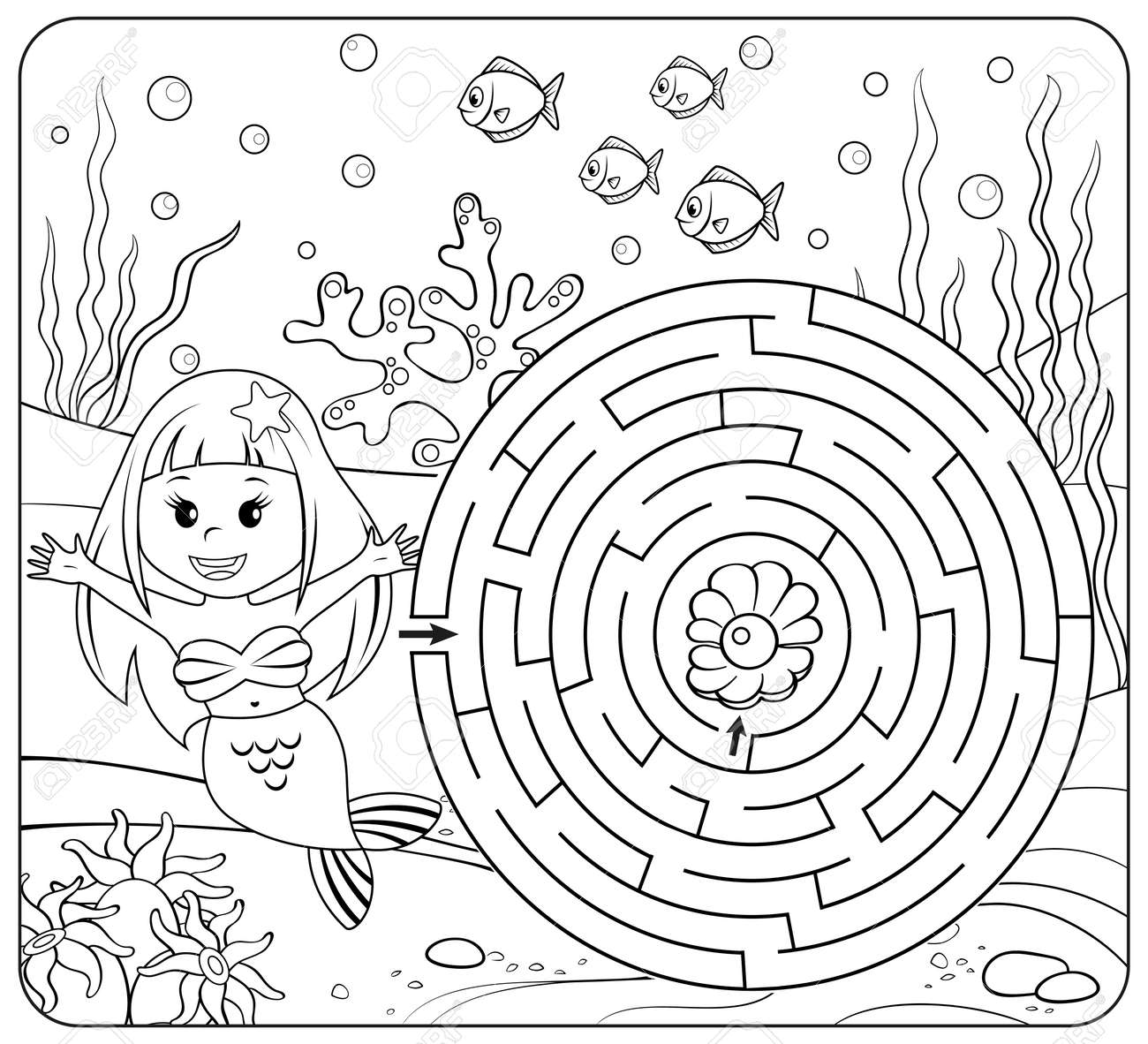 Help Mermaid Find Path To Pearl. Labyrinth. Maze Game For Kids ...