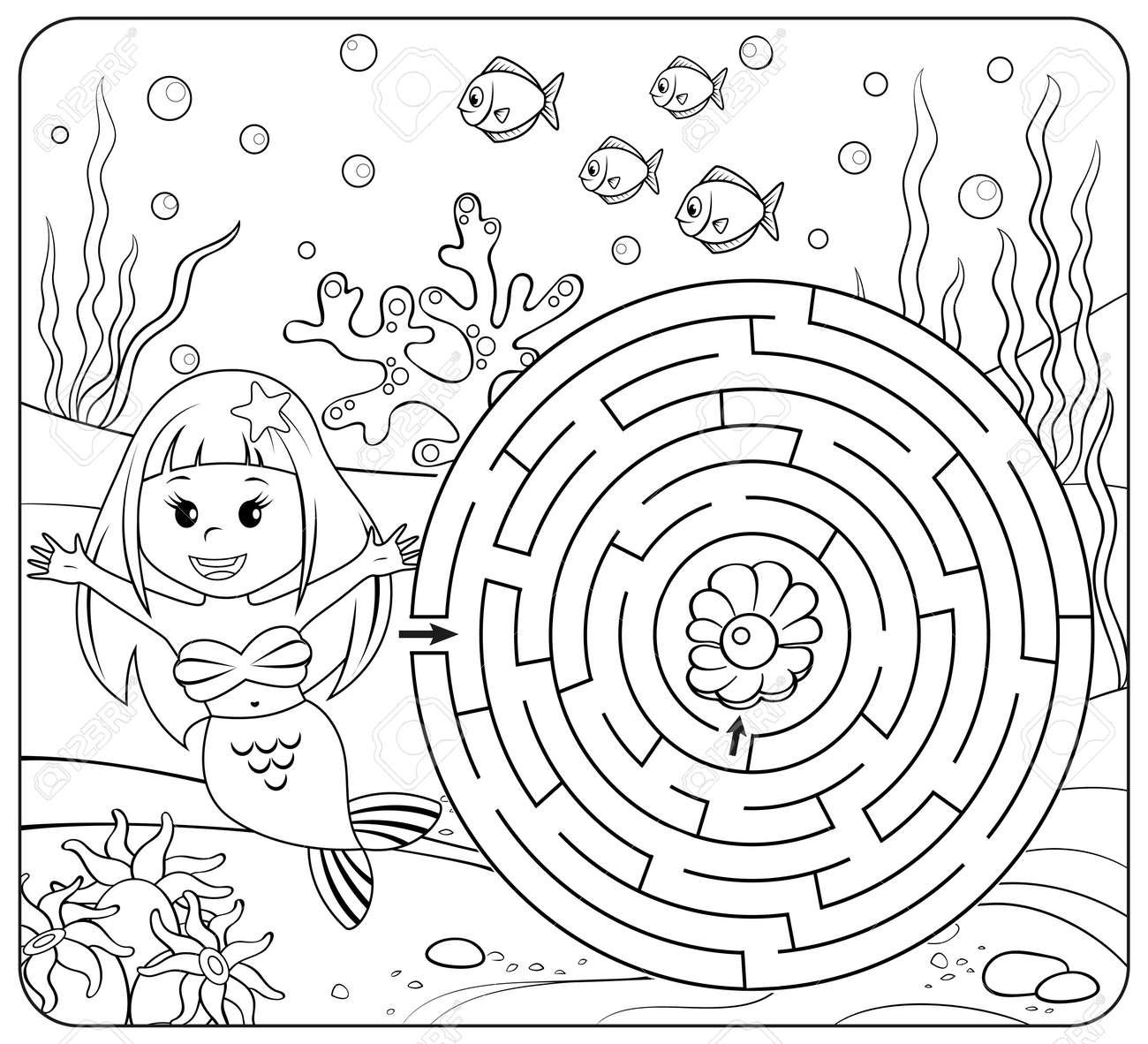 Hilfe Meerjungfrau Finden Weg Zu Perle. Labyrinth. Labyrinth Spiel ...