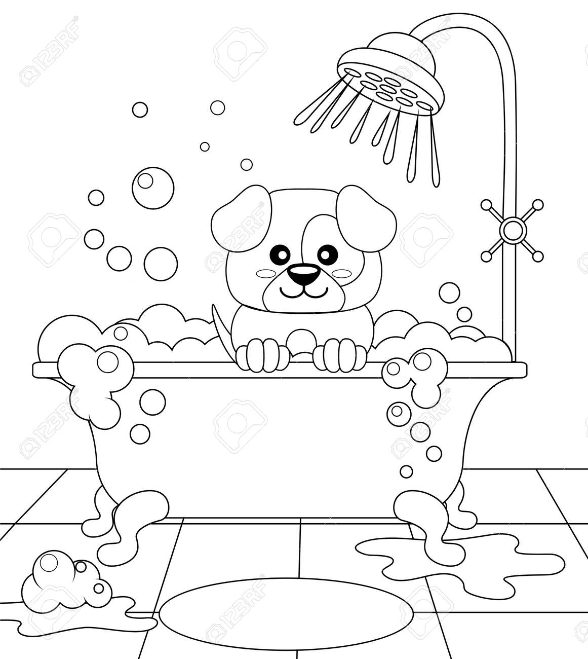 Cute Puppy Taking Bath. Dog Grooming. Black And White Vector ...