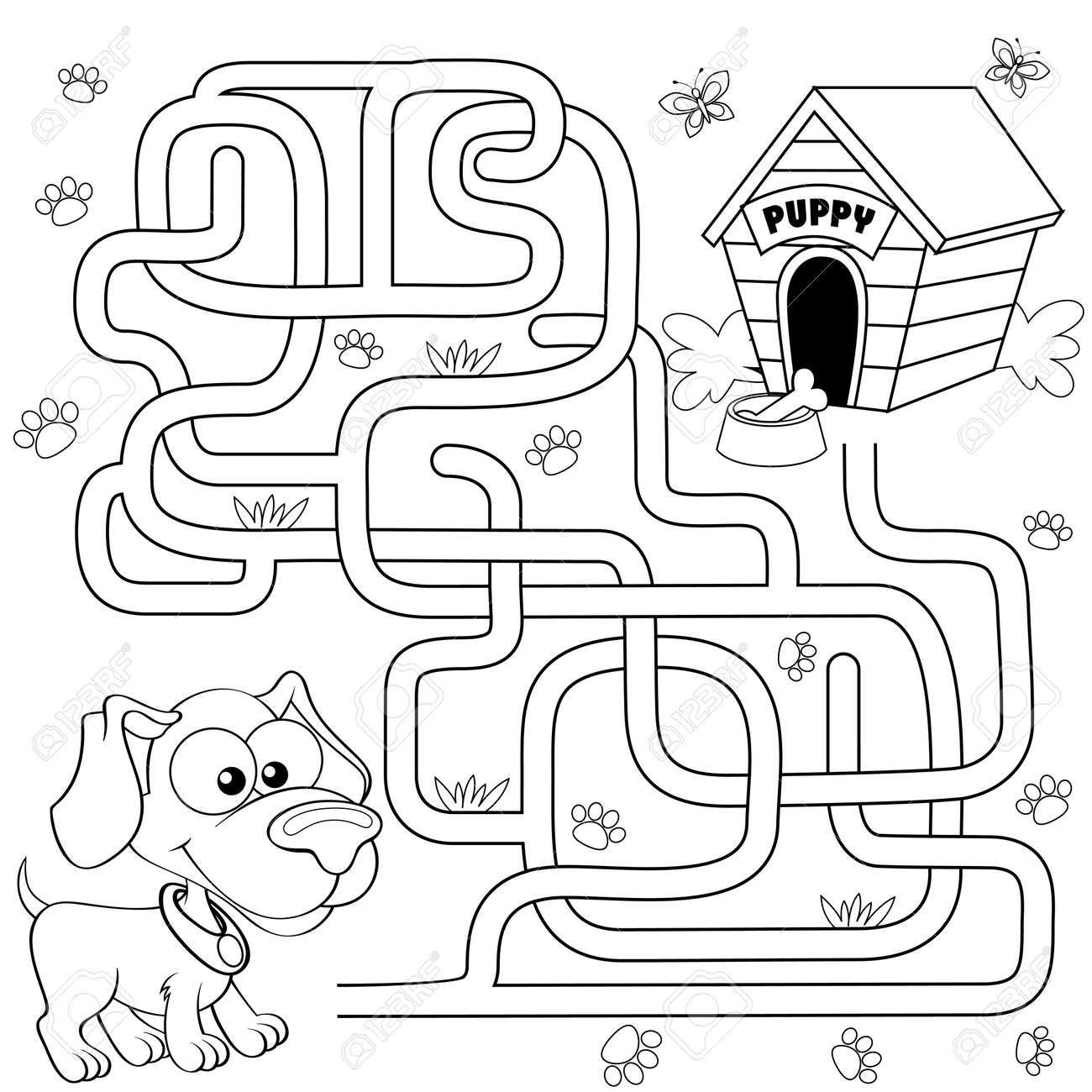 Help puppy find path to his house  Labyrinth  Maze game for kids