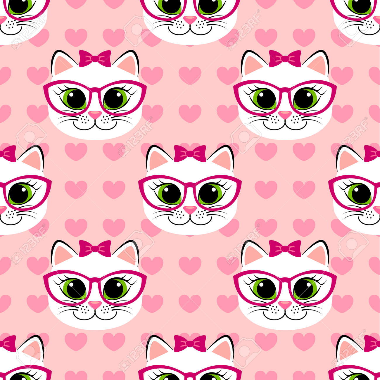 Seamless Pattern With Cute Cartoon Cat And Heart On Pink Background Royalty Free Cliparts Vectors And Stock Illustration Image 77185391