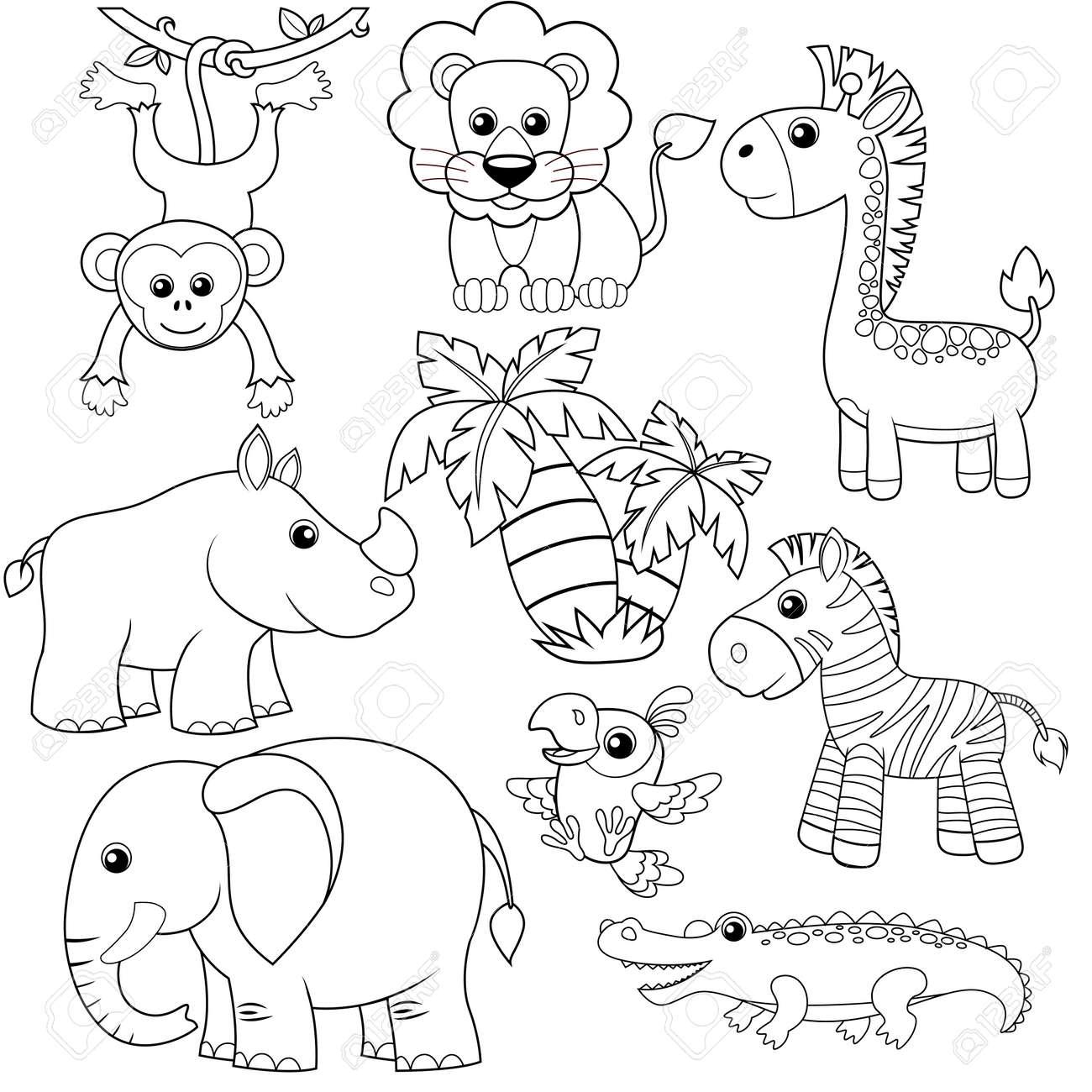 Animaux De La Jungle Lion Elephant Girafe Singe Perroquet Crocodile Zebre Et Rhinoceros Illustration Vectorielle En Noir Et Blanc Pour Le Livre A Colorier Clip Art Libres De Droits Vecteurs Et
