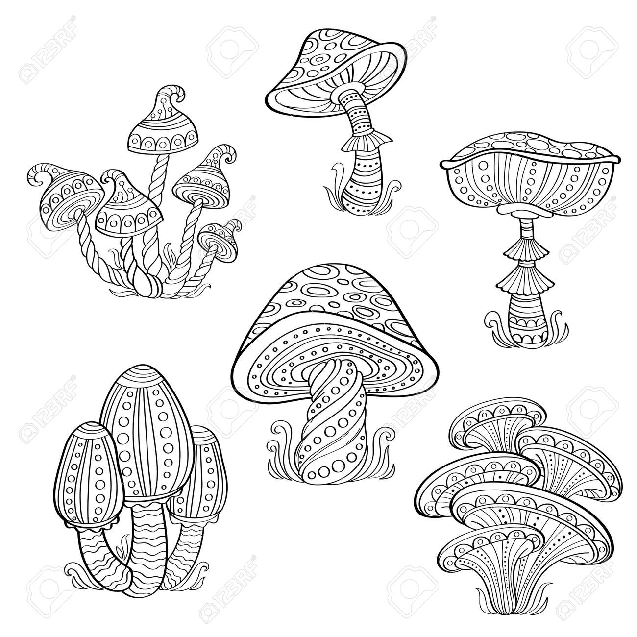 Set Of Stylized Ornamental Mushrooms Line Art Collection Tattoo Royalty Free Cliparts Vectors And Stock Illustration Image 81806853