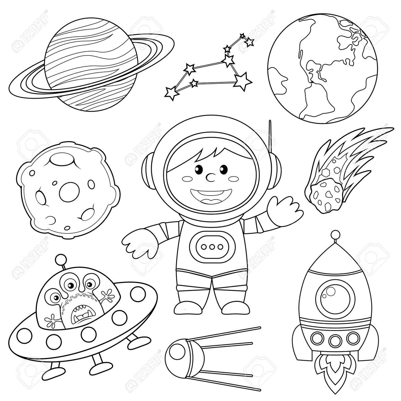 Ensemble D éléments D Espace Astronaute Terre Saturne Lune Ovni Fusée Comète Constellation Spoutnik Et étoiles Illustration Noir Et Blanc