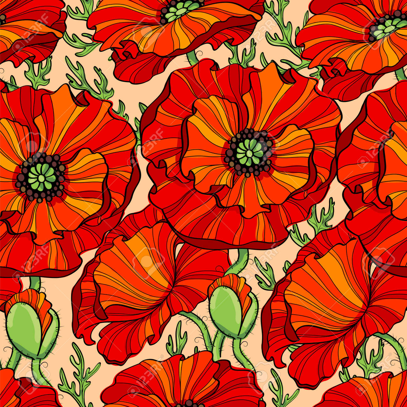Seamless Pattern With Red Poppy Flowers. Floral Background Royalty ...