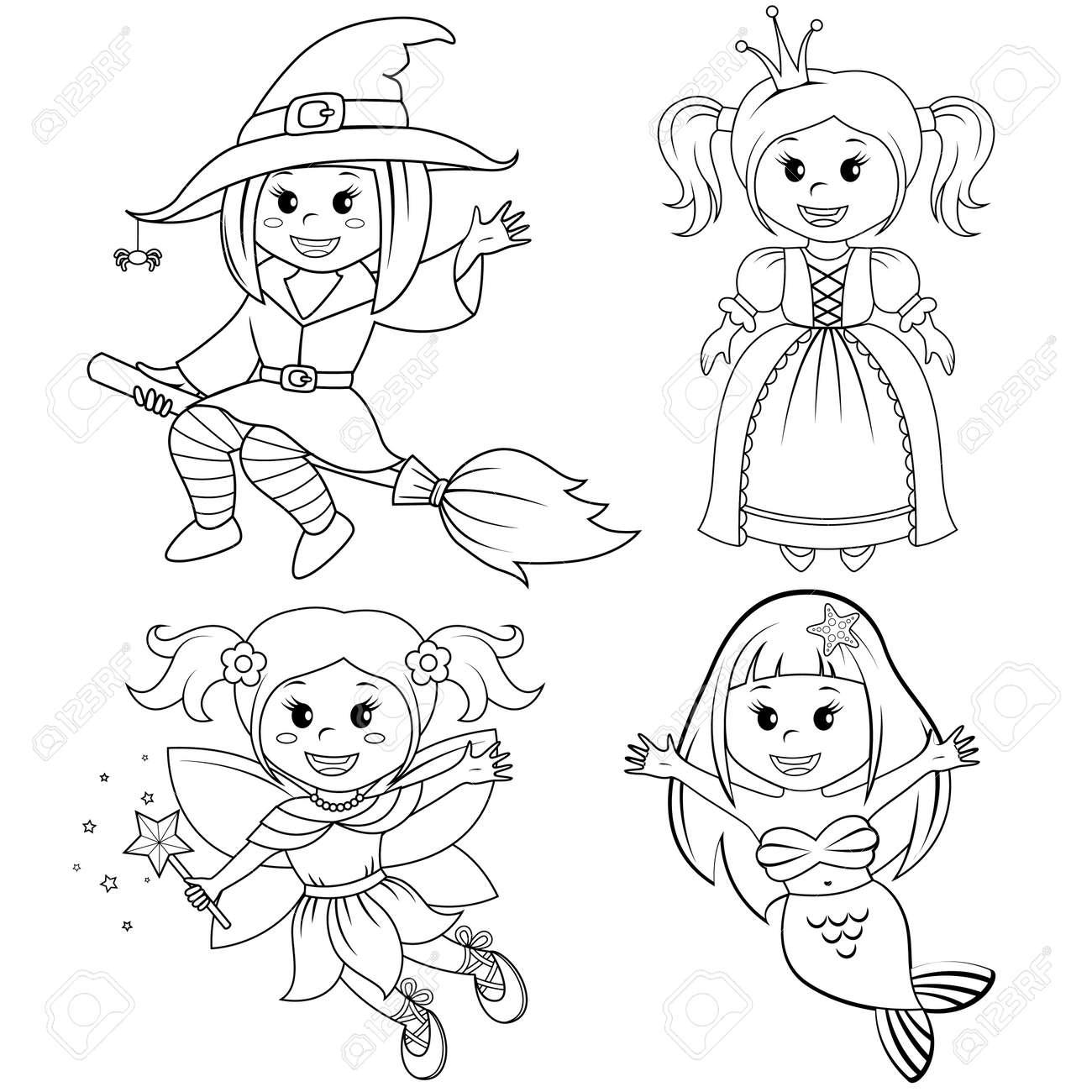 Conjunto De Chicas Lindas De Cuento De Hadas. Bruja De Halloween ...