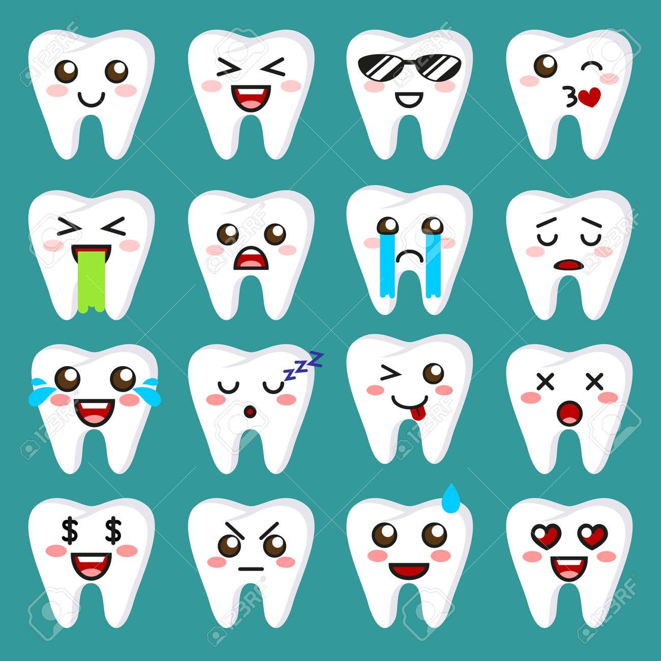 歯の絵文字かわいい顔文字はベクトル イラストですのイラスト素材