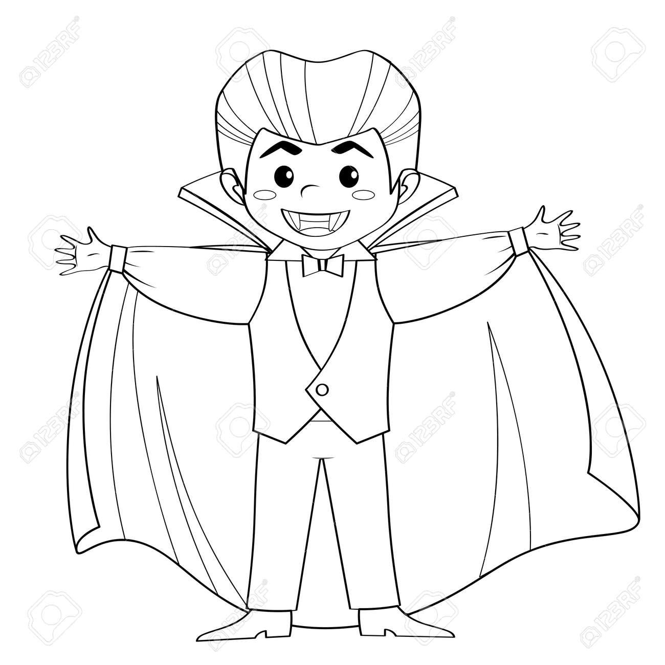 Conde Drácula Vampiro Niño Disfrazado De Halloween Ilustración De