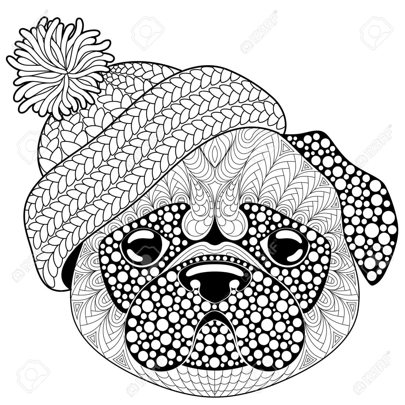 Coloriage De Chien Carlin.Chien Carlin Avec Un Bonnet Tricote Tatouage Ou Coloriage Antistress Adulte Doodle Dessine Main Noir Et Blanc Pour Livre De Coloriage