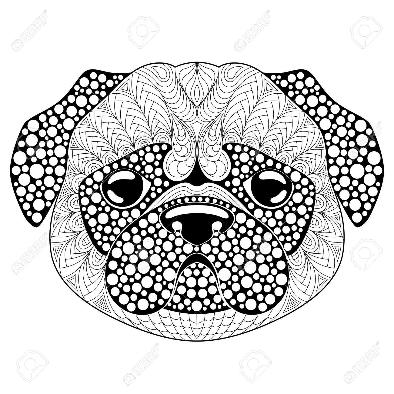 Cabeza De Perro Pug. Página Para Colorear De Tatuajes O Antiestrés ...
